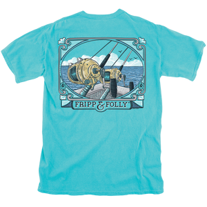 Saltwater Reels Tee in Lagoon Blue by Fripp & Folly