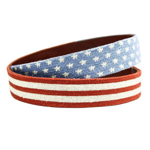 Stars and Stripes Needlepoint Belt in Red, White and Blue