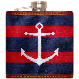 Striped Anchor Needlepoint Flask in Navy and Red