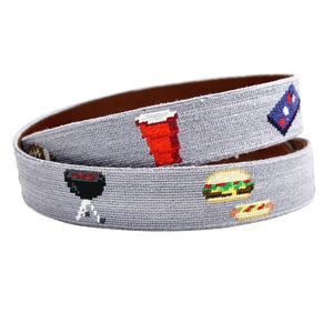 Tailgating Needlepoint Belt in Steel Grey