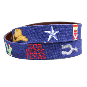 Texas Life Needlepoint Belt in Navy