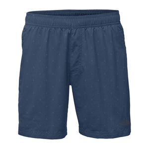 "The North Face Men's 7"" Class V Pull-On Trunks in Shady Blue Tent Print"