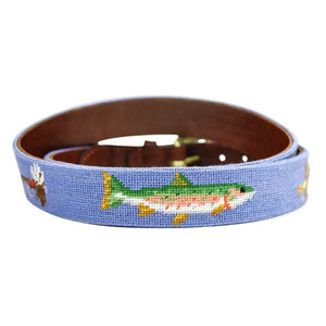 Trout and Fly Needlepoint Belt in Stream Blue