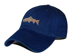 Heathered Trout Needlepoint Hat in Navy