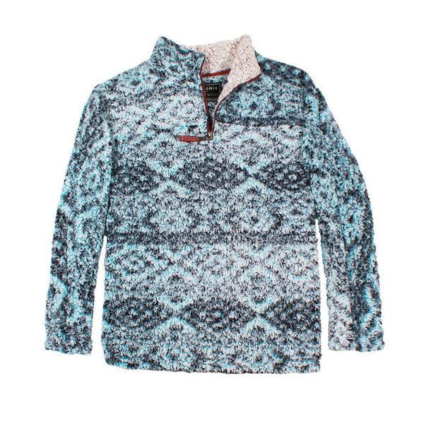 True Grit Frosty Tipped Tribal Pile 1/4 Zip Pullover in Aqua