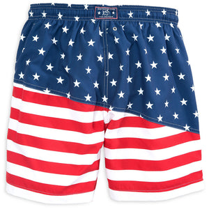 Two If By Sea Swim Trunk in Red, White and Blue