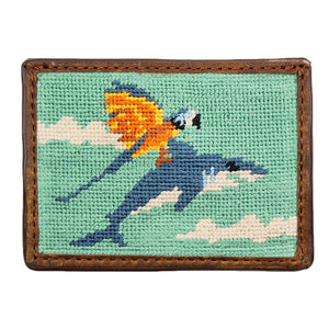 Flying Fish Needlepoint Credit Card Wallet in Teal by Parlour  - 1