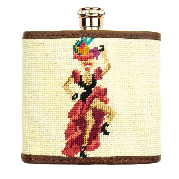 Fruit Girl Needlepoint Flask in Khaki by Parlour  - 1