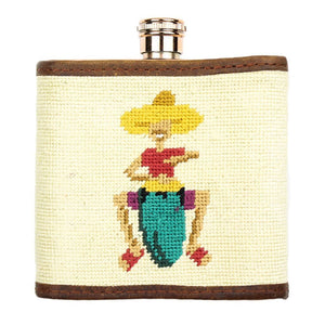 Fruit Girl Needlepoint Flask in Khaki by Parlour  - 2