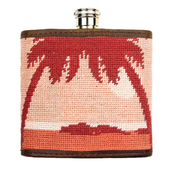 Palm Tree Needlepoint Flask in Sunset by Parlour  - 1