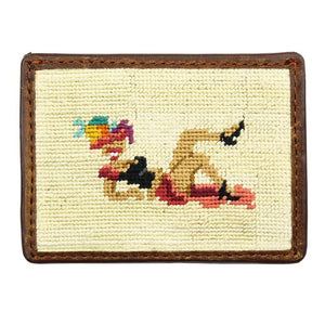 Fruit Girl Needlepoint Credit Card Wallet in Khaki by Parlour  - 1