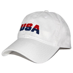 USA Needlepoint Hat in White