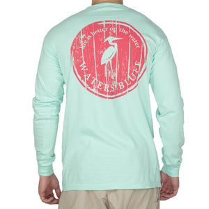 Wood Grain Long Sleeve Tee Shirt in Island Reef   - 1