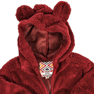 YOUTH Silky Pile Pullover Teddy Bear in Red -1
