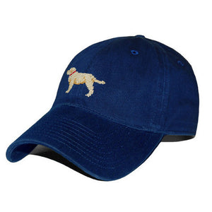 Yellow Lab Needlepoint Hat in Navy