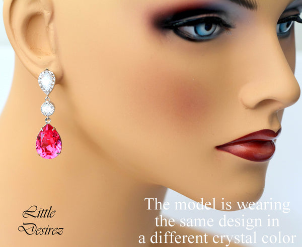 Coral Crystal Earrings CO-31