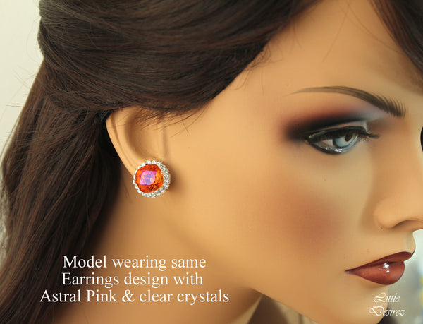 Blush Pink and Gold Earrings Crystal Studs BP-50
