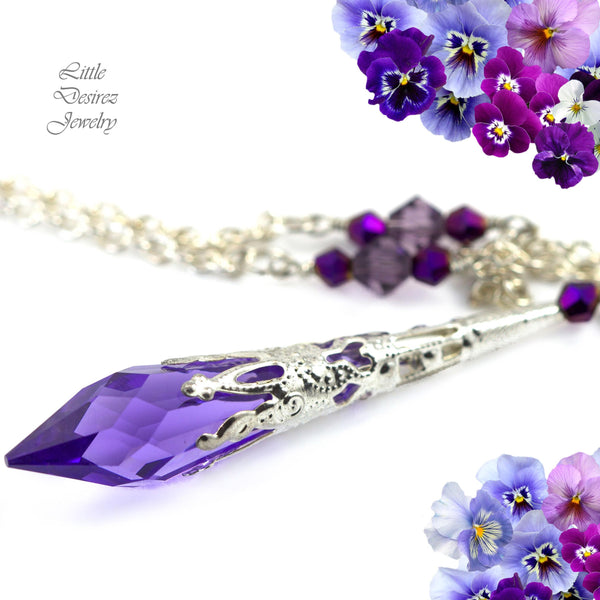 Purple Crystal Necklace TZ-36
