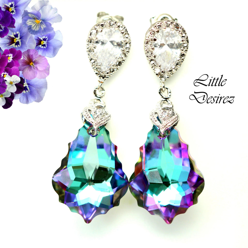 Purple and Pink Earrings Swarovski Vitrail Light VL-30