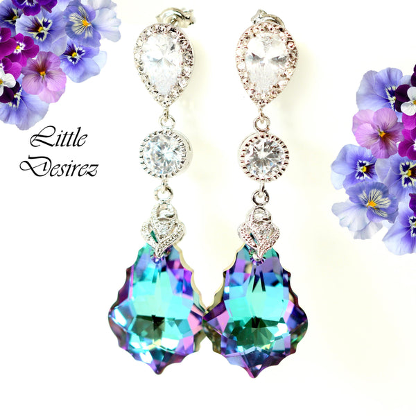 Purple Drop Earrings Swarovski Earrings VL-30