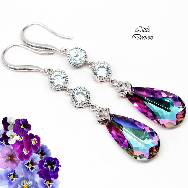 Pink and Purple Earrings Dangle Earrings VL-33