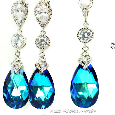 Blue Bridal Jewelry Set Wedding Jewelry BB-32