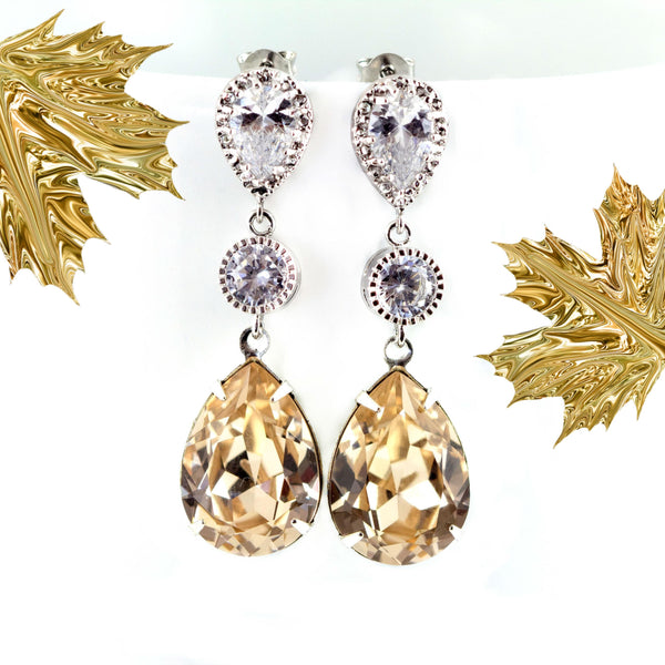 Champagne Earrings Nude Earrings CH-31