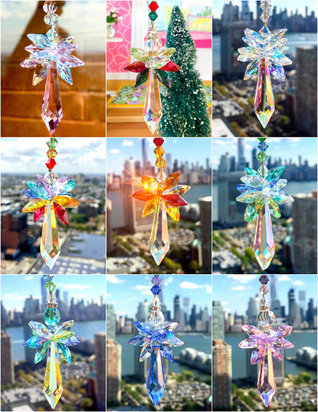 Green Blue Suncatcher Guardian Angel Swarovski Ornament