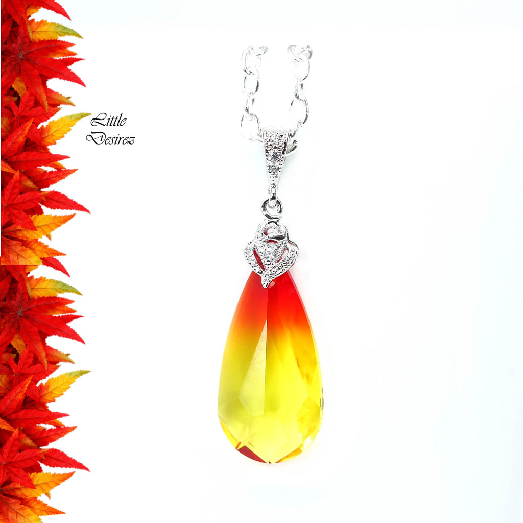 Yellow Necklace Swarovski Fire Opal Crystal FO-33