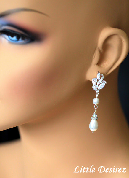 Rhinestone Pearl Leaf Bridal Earrings AKIHA