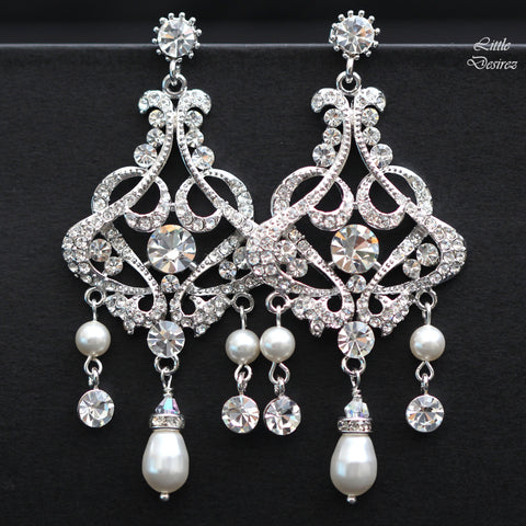 Rhinestone Crystal and Pearl Chandelier Earrings ISABELLA