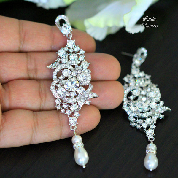 Rhinestone and Pearl Bridal Earrings MARILYN