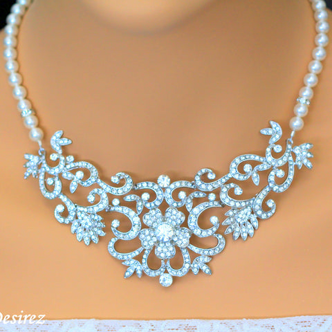 Vintage Wedding Jewelry Statement Necklace Bib Collar Necklace ZAHARA