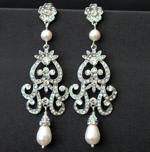 Bridal Chandelier Dangle Earrings Party Earrings Cubic Zirconia ZAHARA