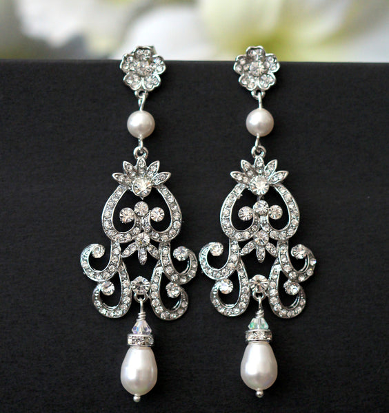 Rhinestone Pearl Bridal Earrings ZAHARA