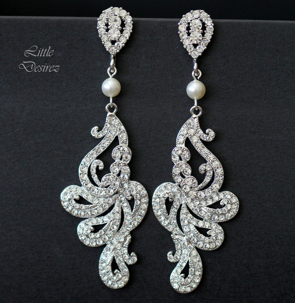 Statement Wedding Earrings Crystal Chandelier Earrings FRANCESCA