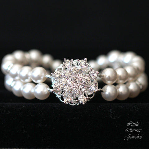 Crystal Flower and Swarovski Pearl Bracelet STARBURST