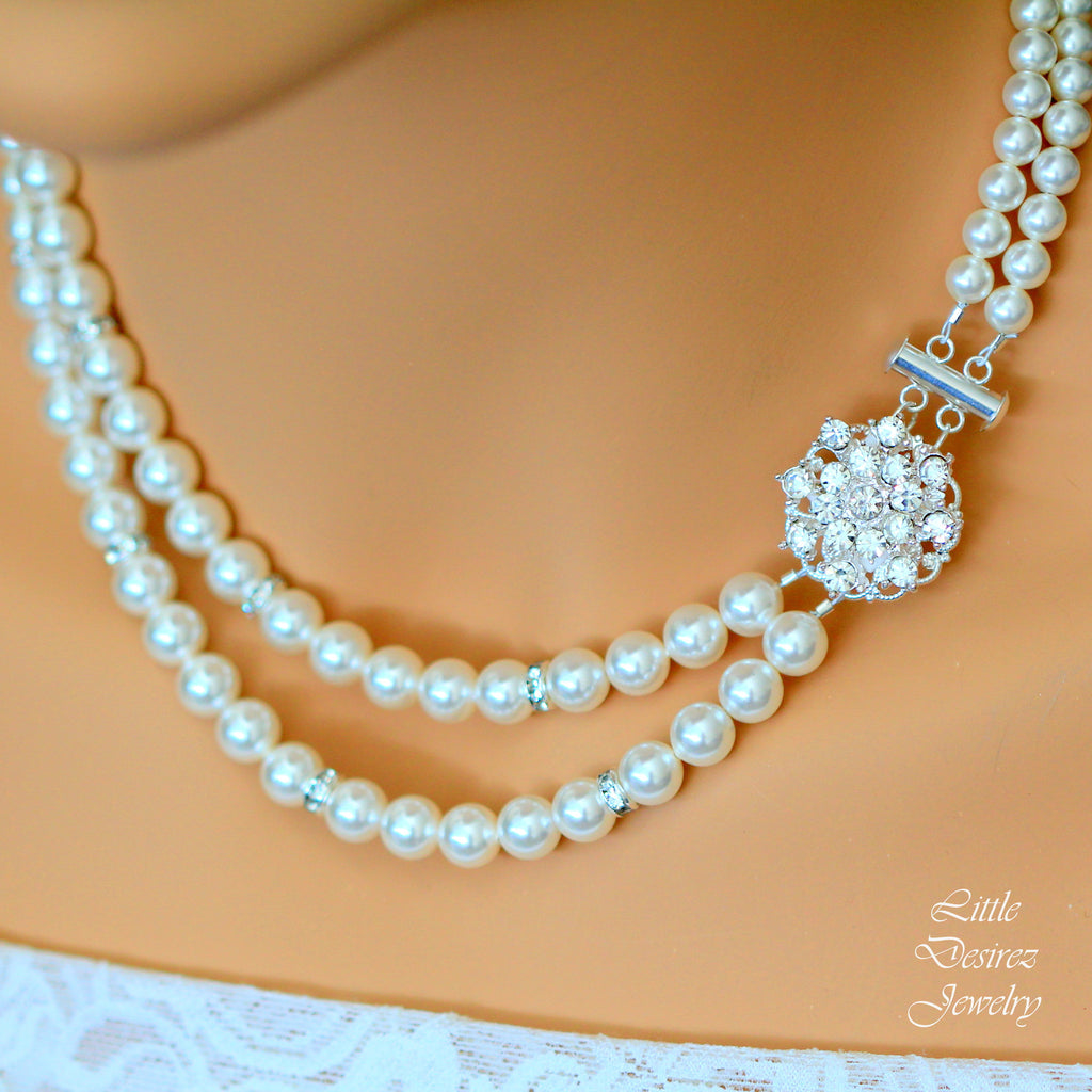 Pearl Rhinestone Bridal Necklace STARBURST