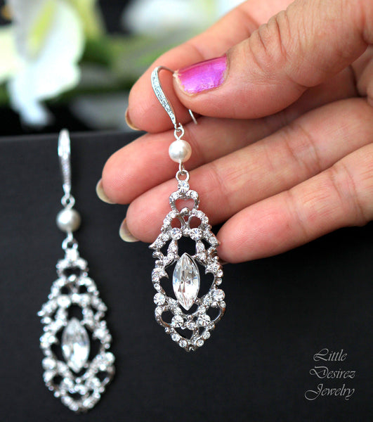 Vintage Style Bridal Wedding Earrings ALEXANDRA