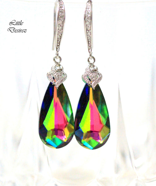 Emerald Green and Pink Earrings VM-33