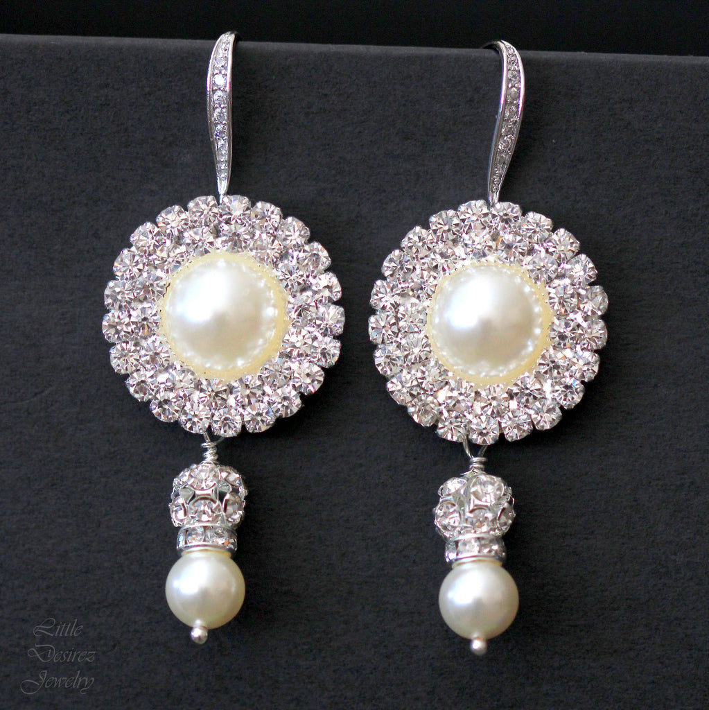 Rhinestone and Pearl Bridal Earrings GRACE
