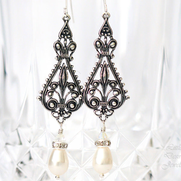 Antiqued Silver Filigree Earrings ALEXIS