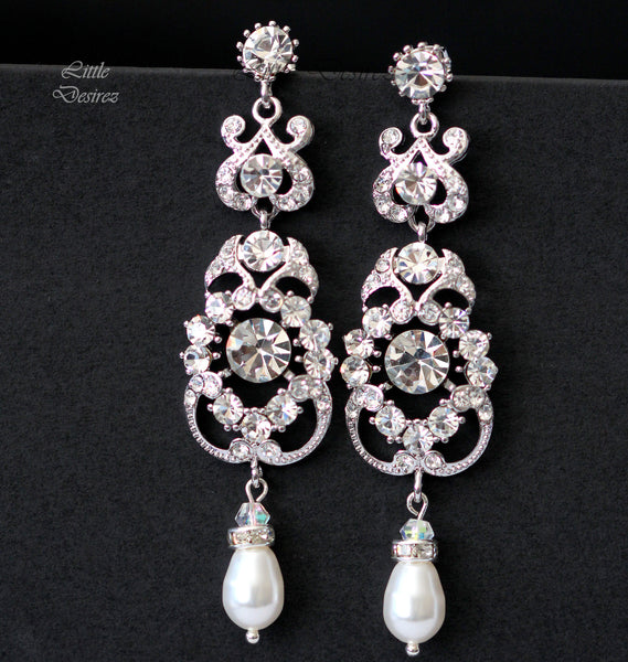 Rhinestone and Pearl Wedding Earrings AMENDINE