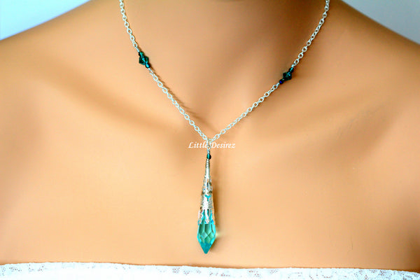 Teal Green Crystal Necklace AG-36