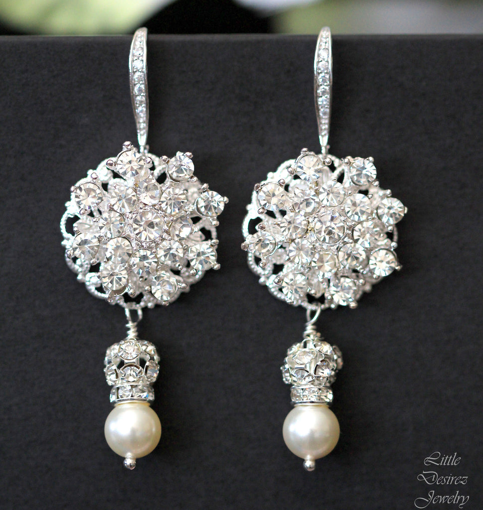 Rhinestone Earrings Pearl Drop STARBURST