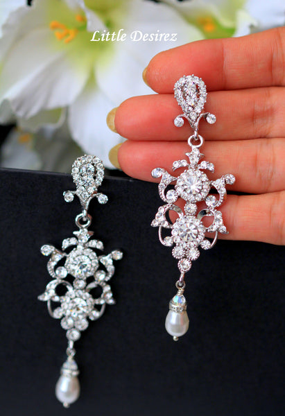 Crystal Rhinestone Pearl Earrings ELEANOR