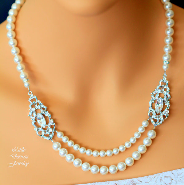 Multi Strand Pearl and Crystal Necklace ALEXANDRA