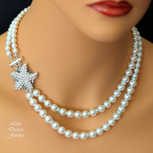 Starfish Necklace Rhinestone and Pearl Necklace KAI