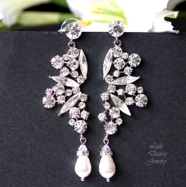 Crystal and Pearl Bridal Chandelier Earrings PARIS
