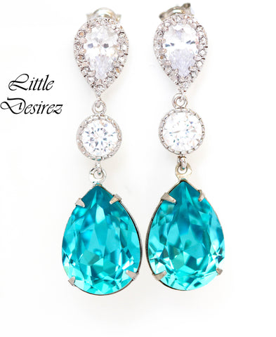 Long Blue Earrings Blue Bridal Jewelry Beach Wedding TQ-31